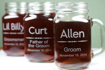 Engraved Mason Jar Mugs with Custom Groomsmen Classically Simple Design (Set of 3)