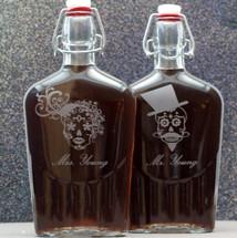 Engraved Sugar Skull Couple Large Glass Flask Groomsmen Gift