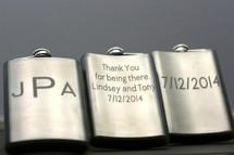 Engraved Stainless Steel Flask with Double Sided Custom Monogram Groomsmen Gift