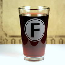 Engraved Newlywed Monogramed Initial with Bold Classic Font Pint Glasses (Set of 2)