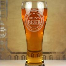 Engraved Large Pilsner With Home Brew Wedding Beer Names Design (Set of 2)