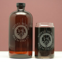 Engraved 32oz Boston Round Growler and Pint Glass with Custom Beer logo