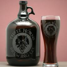 Engraved Gallon or 64oz Growler & 21oz Pilsner with Custom Beer Logo Design