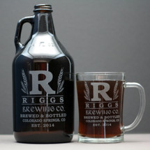 Engraved 64oz Growler and Beer Mug with Personalized Large Initial and Wheat Design