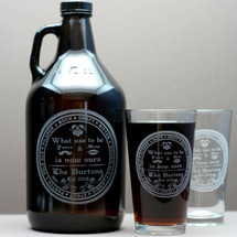 Engraved 64oz Growler & 2 Pint Glasses with Personalized Homebrew Wedding Beer Names Design Close Up