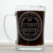 Engraved Beer Stein or Mug with Custom Brewing Beer Names (Set of 2)