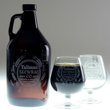 Hops & Wheat Art Personalized 64oz Growler & Two 18oz Snifter Glass Set