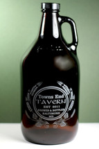 Engraved 64oz Growler with Personalized Home Brew Hops and Wheat Tavern Design