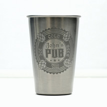 Engraved Stainless Steel Pint Personalized with Four Hop Triple Circle Design