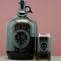 Engraved Gallon Growler & 16oz Can Glass with Custom Beer Logo Design