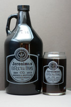 Custom Engraved Homebrew Growler & Glass Set with Classy Bold Simple Label Design