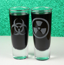Engraved Shooter Shot Glasses with Bio-hazard & Nuclear Symbol (2 Glass Set)