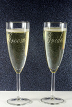 Engraved Tapered Champagne Flutes with Classic Wedding Bride & Groom (Set of 2)
