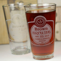 Engraved Pint Glasses with Classy Personalized Home Brew Beer Design (Set of 2)