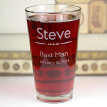 Custom Engraved Groomsmen Best Man Pint Glass Wedding Gift
