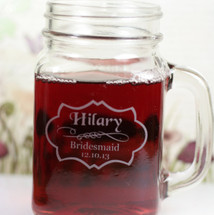 Engraved Personalized Bridesmaid Wedding Mason Jar Mugs with Classy Label Design