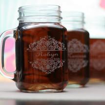 Engraved Personalized Wedding Mason Jar mugs with Baroque Theme (Set of 4)