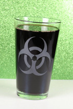 Engraved Sandblasted Biohazard Etched Pint Glass