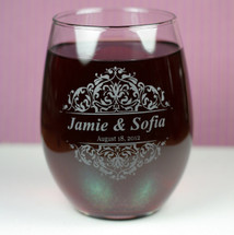 Engraved Wedding Wine Glasses with Baroque Theme (Set of 2)