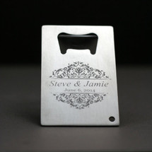 Engraved Bottle Opener with Classic Baroque Themed Design