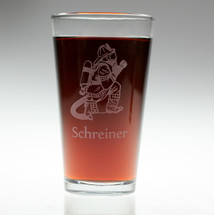 Personalized Firefighting Man Engraved Pint Glass