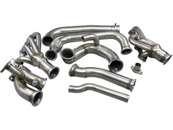 "LS Swapped Silvia need more power? How about adding a turbo to it? Here are the manifolds to get you started! 1. Keeps Radiator at Stock Location. 2. Use A Patented Twin 2.5"" to T4 Cast Merge Collector, Provides the Best Flow for Turbo Spooling. 3. Support Big T4 Turbo 4. Support Dual 44MM Vband Wastegate"
