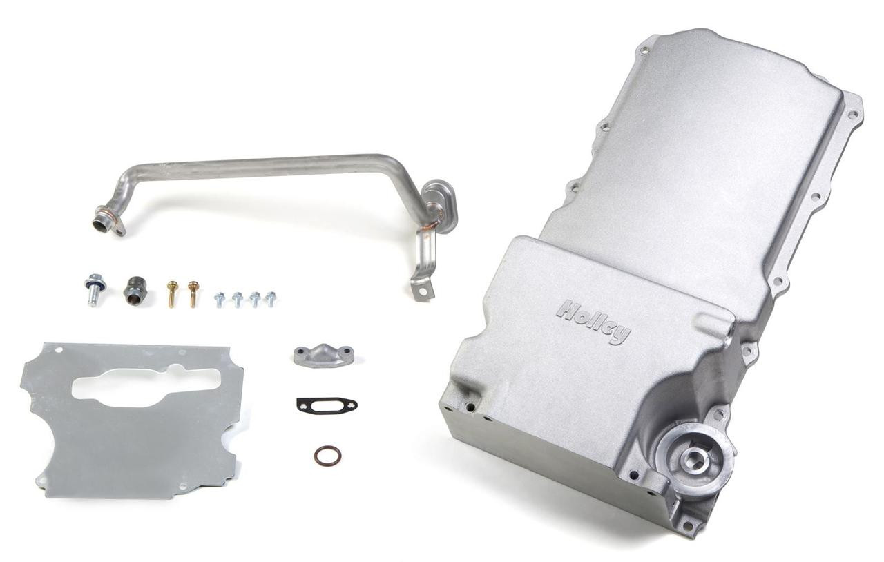 These Holley GM LS retrofit engine oil pans are designed to install an LS engine in a variety of GM musclecar and truck chassis. They provide OEM fitment, OEM oil filter mounting, OEM oil cooler port provision, OEM engine NVH suppression, OEM flange gasket and sealing, proper structural rigidity, and OEM bellhousing attachments. The oil pans are manufactured from traditional high-quality cast aluminum and include a sump baffle, oil pump pickup tube, sump plug, oil filter stud, and oil passage cover.