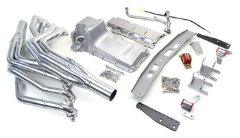 This swap kit is for the 1967-1969 Camaros and Firebirds. It was designed around our GM LH8 oil pan using our Sure-Fit crossmember system. It bolts into existing holes in the subframe and was designed to give you the most options for front accessories drives. Unlike most LS swap parts on the market this kit replaces the frame brackets in addition to the mounts so you'll have clean mounting of your engine and not a mix of parts that are weak and don't work together properly. Unlike others, our kit positions the engine so there is no steering interference and maintains the proper drive-line angle for smooth highway cruising. It provides clearance for the factory AC box, power brake booster, and aftermarket suspension components.  We offer a complete line of  headers that give unparalleled performance and ground clearance with sizes that are matched to your engine combo. These combined parts offer an easy, strong, and clean installation of your LS engine.