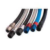 Hose Size:-6 AN  PTFE Lined:No  Hose Length (ft):20.000  Outer Material:Braided stainless steel  Hose Color:Natural  Hose Material:Synthetic rubber  Hose Inside Diameter (in):0.344 in.  Hose Outside Diameter:0.563 in.  Minimum Recommended Temperature:-40 degrees F  Maximum Recommended Temperature:350 degrees F  Maximum Operating Pressure (psi):1,000 psi  Quantity:Sold individually.  Russell's ProFlex hose series represents the ultimate in mandrel-produced, stainless steel, wire braid hose. It has a unique CPE inner liner that is compatible with synthetic lubricants and hydrocarbon racing fuels. ProFlex hose is perfectly matched for use with Russell full-flow hose ends (taper design). It also features temperature ranges of -40 to +350 degrees F for a wider variety of uses and routing.