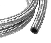 Stainless steel hose consists of a synthetic-nitrile inner tube with a partial stainless steel reinforcement inner braid. On top of that, we add a heavy-duty, protective, full stainless steel braid on the outside, making it exceptionally lightweight, flexible, and durable. Even better, our hose is designed to handle gasoline, oil, or coolant.  Hose Size:-8 AN  PTFE Lined:No  Hose Length (ft):6  Outer Material:Braided stainless steel  Hose Color:Natural  Hose Material:Rubber  Hose Inside Diameter (in):0.438 in.  Hose Outside Diameter:0.641 in.  Minimum Recommended Temperature:-40 degrees F  Maximum Recommended Temperature:300 degrees F  Maximum Operating Pressure (psi):1,000 psi  Quantity:Sold individually.