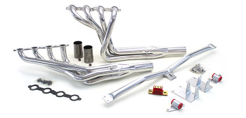 1965-1972 B-Body LS Conversion Kit This swap kit is for the 1965-1972 Impala, Biscayne, Bel Air and Delray. It was designed around our LH8 oil pan kit. The frame brackets bolt into existing holes in the frame so you know the engine will have clearance for accessory drives, factory AC box, power brake booster, and aftermarket suspension components. Unlike others, our kit positions the engine so there is no steering interference and maintains the proper drive-line angle for smooth highway cruising. We offer a complete line of Muscle Rods headers that give unparalleled performance and ground clearance with sizes that are matched to your engine combo. These combined parts offer an easy, strong, and clean installation of your LS engine. See our installation guides for more info on this LS swap.