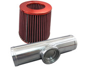 "3"" O.D. BOV FLANGE PIPE, Polished Aluminum, 9"" long.  Air Filter, Height: 130mm, Width: 155mm, Neck: 76mm, Red.  Best Used On Turbocharged Motors, Compatible with HKS SSQV/SQV Blow Off Valves  Highlights: - Mandrel Bent Polished Pipe. - Aluminum Pipe with perfect thickness of balancing performance and durability. - High flow air filter element, high grip design for perfect fitment.  Included: - 1x 3.0"" O.D. Aluminum Flange Pipe. - 1x Air Filter."