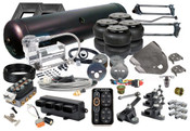 """88-98 SILVERADO/SIERRA TRUCKS ACCUAIR e-LEVEL AUTO LEVELING SYSTEM  (4) EASYSTREET D2600 DOMINATOR BAG (1) 88-98 CHEVY/GMC FULL SIZE TRUCKS FRONT BRACKETS (1) UNIVERSAL REAR OVER AXLE BRACKETS (1) 2"""" x 4"""" ONE PIECE NOTCH (1) PARALLEL 4-LINK WITH PAN-HARD BAR (1) 5-GALLON 6-PORT TANK (BLACK OR SILVER) (1) ACCUAIR E-LEVEL CONTROLLER WITH *NICKEL* TOUCHPAD (1) ACCUAIR SOLENOID VALVE (1) VIAIR 444C COMPRESSOR (1) 50' OF 3/8"""" NYLON REINFORCED D.O.T. APPROVED AIR LINE (6) 3/8"""" LINE x 1/2"""" PIPE MALE PUSH CONNECT ELBOW (1) 1/4"""" x 1/8"""" REDUCING BUSHING (1) 1/4"""" HEX PLUG (1) 1/4"""" PIPE DRAIN COCK"""
