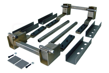 "Hiding your hinges? Suiciding your doors? Made only from high quality steel, Rocky Hinge Kits feature a fully bushed one piece swing arm with 3/8"" ground shoulder bolt hinge pin. This combination ensures reliability and strength. Our hinge kits are pre-aligned and pre-welded to 1"" sq. tubing making the installation process faster and easier. All hinge kits come complete with mounting hardware, recess pockets for two doors, extra bracing, and installation instructions."