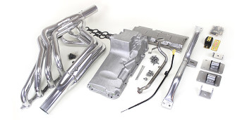 Hello LSx Guys!. Get your C10 on the road daily - get your project on the road with this swap kit!   This swap kit is for 1964-1972 GM ½ ton 2 wheel drive trucks. It was designed around our GM LH8 oil pan. Unlike most LS swap parts on the market this kit replaces the frame brackets in addition to the mounts so you'll have clean mounting of your engine and not a mix of parts that are weak and don't work together properly. The frame brackets bolt into existing holes in the frame and locates the engine to give you the most options for front accessories drives. Unlike others, our kit positions the engine so there is no steering interference and maintains the proper drive-line angle for smooth highway cruising. It provides clearance for the factory AC box, power brake booster, and aftermarket suspension components.  Optional headers that give unparalleled performance and ground clearance with sizes that are matched to your engine combo. These combined parts offer an easy, strong, and clean installation of your LS engine.   65-72-c10-full-kit.jpg     This kit includes the following:  Mount and Crossmember Kit  Includes motor mounts, frame brackets, transmission crossmember, transmission mount, and hardware.  Manufactured from the highest grade American made steel. They're laser cut, precision bent, powder coated and feature polyurethane bushings.  Comes with a lifetime free replacement warranty on the bushings.  c10-64-72-truck-kit-crossmember.jpg   LH8 Oil Pan kit  The oil pan our kit was designed around. Comes standard or machined for the oil bypass valve for use with displacement on demand or variable valve timing. Includes new full length windage tray, pickup tube, hardware, gasket, dipstick, and our pickup tube girdle.  lh8-pan-kitsm.jpg   Optional Oil Pump Pickup Tube Girdle  Original GM oil pickup tubes are fastened to the pump with only one bolt with a tear drop shaped mating flange on the tube. There is another threaded bolt hole on the other side that is not use