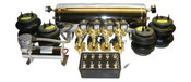 """Basic 3/8 line kit with the following: 1- ViAir 380 Compressor, 1- 5 Gallon Chrome Multiport Tank, 8- 1 way 3/8"""" SMC Valves, 1- 150psi. Pressure Switch, 1- 10 Switch Pre-wired Box, 1- Single Needle Pressure Gauge, 4- Air Bags, All fittings and 60ft. Air Line."""