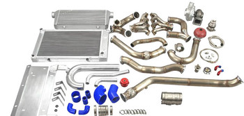 """Single Turbo Header Downpipe Intercooler Radiator Kit for 68-72 Chevelle/Cutlass  Supports up to 1000 HP (with Built Motor and Upgraded Fuel System) Turbo Header Kit Is Designed to Fit Aftermarket AC and Alternator Brackets that Mount These Accessories High on Both Left and Right Corner  Single Turbo Header Kit, with T76 Turbo 0.81 AR Exhaust Housing and 44mm V-band Wastegate (8 PSI) Intercooler and Radiator Kit, with Mounting Brackets and Radiator Hard Pipe Kit Intercooler Piping Kit and BOV 3"""" Turbo Downpipe  Kit includes:  T76 Turbo Charger, 0.81 AR Exhaust Housing x1 Turbo Header Downpipe Kit x1 60MM 12Psi V Band Wastegate x1 T4 to 3"""" V-Band Cast Turbo Elbow Adapter x1 Oil Filter Sandwich and Oil Line Kit x1 Set of Vband Clamp x1 Intercooler, with Mounting Brackets x1 Aluminum Intercooler Piping Kit x1 Set of Silicon Hose x1 Set of Clamp x1 Blow Off Valve x1 Mushroom Air Filter x1 3 Row High Performance Aluminum Radiator, with Radiator Hard Pipe Kit x1 Chevelle LSx Engine Mount Kit, If Using Different Engine Mount, Fitment Might Be Off and Modification Might Be Needed.   Downpipes DO NOT fit factory transmission crossmember, you will need to use our transmission mount.  All Products Are Developed from The Ground up in Our R&D Center Based in The USA."""