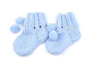 Merino wool baby amber teething socks / blue
