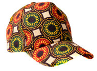 Print fabric baseball cap, comes with adjustable strap.