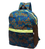 Sanya backpack, printed in vibrant African print. this backpack is a lightweight cotton piece, finished with net in the front with vibrant neon zips for extra compartments. It also has a generously sized interior - perfect for everything Summer vacation, laptops and books. The adjustable straps are cushioned to ensure comfort.   - Multicolored cotton fabric - Zip fastening - African print - Weighs approximately 1.8lbs/ 0.8kg - Made in West Africa This item's measurements are: Depth 18cm Handle Drop 9cm Height 40cm Width 37cm