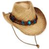 AOI WHEATSTRAW WESTERN HAT W/TURQ CONCHO BEADED TRIM