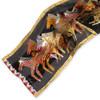 "BLACK, NATIVE HORSES SCARF W/ SEQUINS | 53"" x 11"" | 100% Silk Fabric"