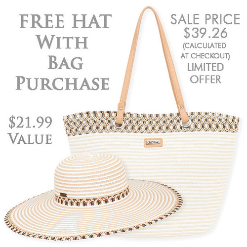 "KLACIA BAG & HAT SET | BAG - SHOULDER TOTE | Zip Top | 18.5"" x 9"" x 12.5"" 