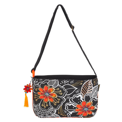 "White on Black Floral Crossbody | 14.5""x 10"""