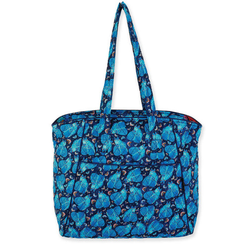 "Indigo Cats Shoulder Tote |  15""x 8.5""x 14.5"""