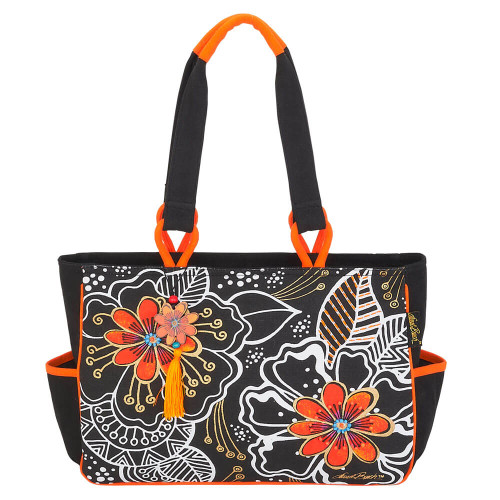 "White On Black Floral Medium Tote | 14.5""x 4.5""x 10"""