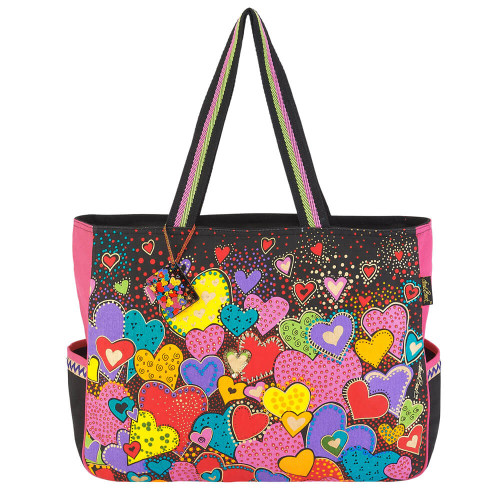 "Dancing Hearts Oversized Tote| 19.5""  x 5"" x 15"""