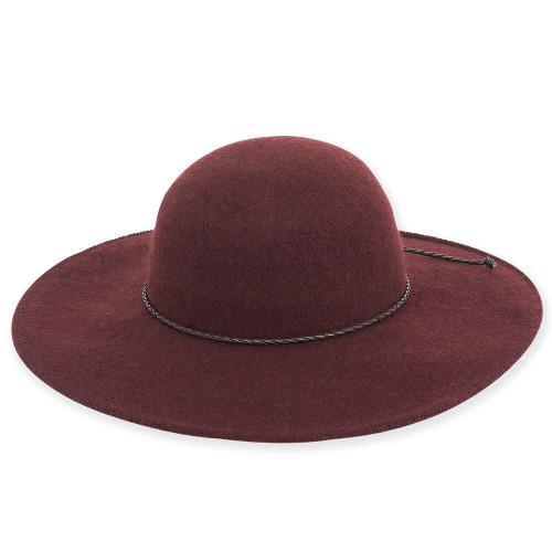 Soft Wool Floppy with Braided Leather Trim | Burgundy