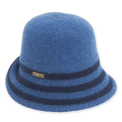 Fern Wool Felt Cloche | Blue