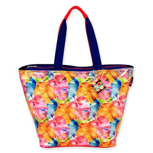 """TROPICAL LEAVES SHOULDER TOTE   23.5""""x 9.5""""x 15"""""""